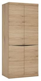 Furniture To Go Kensington Tall Wide 2-Door Cupboard with Grained Melamine, 86 x 197 x 58 cm, Medium Oak