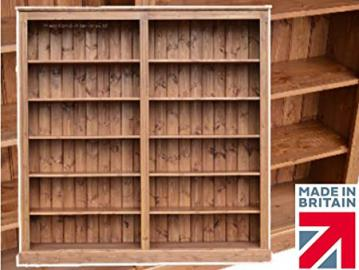 Solid Pine Bookcase, 6ft x 6ft Handcrafted & Waxed Multi-Display Shelving, Library Bookshelves, Choice of Colours. No flat packs, No assembly (BBK02)