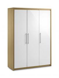 Julian Bowen Stockholm 3 Door All Hanging Wardrobe, Oak/White Gloss