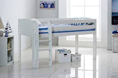 Cabin Bed 3FT Wide Shorty - White - Straight Ladder - Made In The UK.
