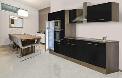 Respekta Kitchen Kitchen Kitchen/Empty Units/Empty York Oak 360 cm black
