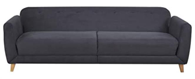 Leader Lifestyle Sydney 3 Seater Sofa Bed in Luxury Black Fabric, Wood