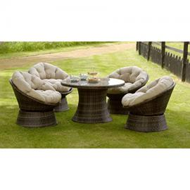 NEW SUMMER GARDEN LAWN PATIO FURNITURE SEATING 5 PIECE COMFY SWIVEL CHAIR DINING SET