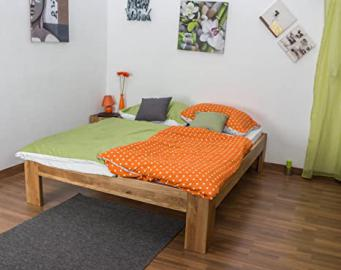 Double Bed Wooden Nature 93, solid wild oak, oiled - 160 x 200 cm