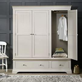 French Country Grey Painted Oak 3 Door Triple Wardrobe