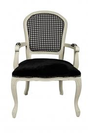 DERRYS Toulon Antique Style French Armchair with Black and White Check, Wood, Ivory/Black