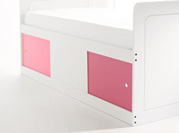 Captains Bed Narrow Shorty in White with 3 Sliding Doors (2 x Pink/1 x White). Made In The UK.