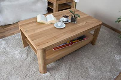 Coffee table Wooden Nature 23, solid wild oak wood, oiled, organic - W105 x H45 x D65 cm