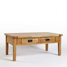 Cotswold Rustic Solid Oak 4 Drawer Coffee Table, (110 W x 60 D x 45 H cm) Living room Furniture