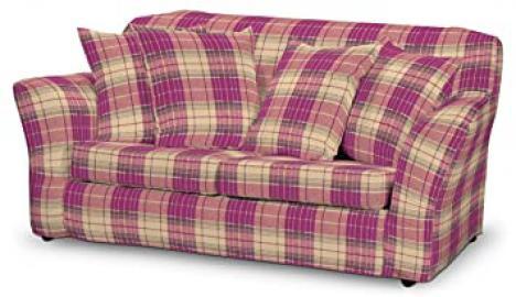 Dekoria Fire Retarding Ikea Tomelilla 2-seater sofa cover - pink & beige check