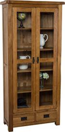 Hermosa Kendal Solid Display Cabinet with Lacquer Finish, Glass, Oak/Brown, 89 x 40 x 190 cm
