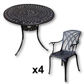 Lazy Susan Furniture - Mia 90 cm Round 4 Seater Cast Aluminium Garden Set - Antique Bronze (April chairs)