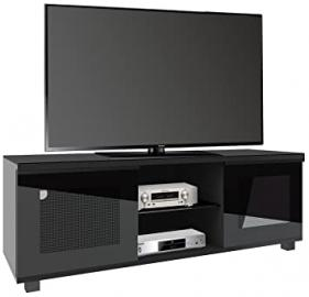 "VCM ""Luxala"" Premium TV Lowboard with 2 Glass Doors and 2-Open Shelves, 150 cm, Carcass Black"