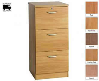 R White Filing Cabinet 3 Drawer M-3DF H1032xW479xD540mm - Color: Walnut