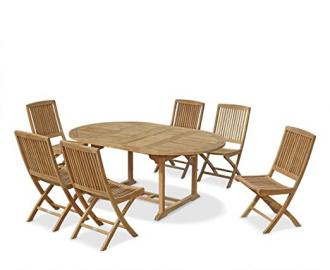 Oxburgh Extending Garden Table and 6 Chairs Set - Jati Brand, Quality & Value ( 6 Tuscany Folding Chairs )