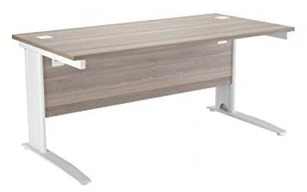 Office Hippo Rectangular Cable Management Desk, 160 cm - White Frame/Grey Oak Top