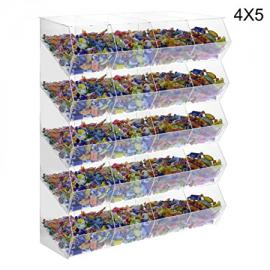 20-Compartment clear acrylic candy bin without door