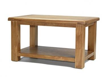 EARLSBURY SOLID CHUNKY WOOD RUSTIC OAK COFFEE TABLE WITH SHELF