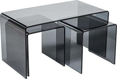 Hermosa Minerva Bent Curved Grey Coffee and Side Table Set Glass, Black, 86 x 46 x 46 cm