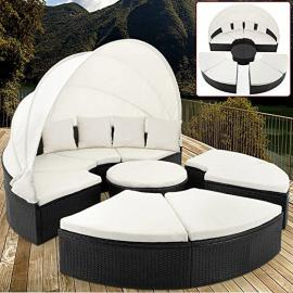 Rattan Garden Day Bed Garden Furniture Ø 230 cm 7.5 ft with Hinged Roof White Canopy + 9 Pads + 4 Pillowcases