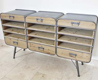 3 COLUMNS INDUSTRIAL CABINET - 6 DRAWERS + 9 SLIDING SHELVES