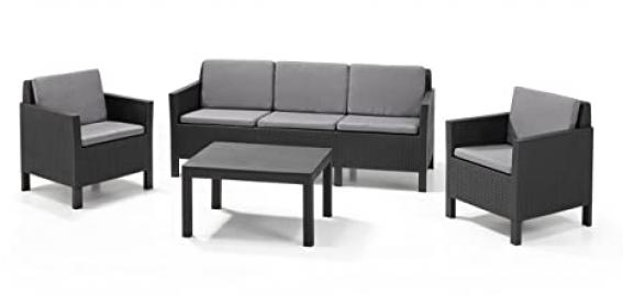 Allibert by Keter Chicago 2 Seater Rattan Balcony Lounge Set Outdoor Garden Furniture- Graphite with Grey cushions