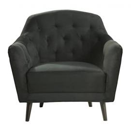 Leader Lifestyle Pearl Armchair in Luxury Black Fabric, Wood
