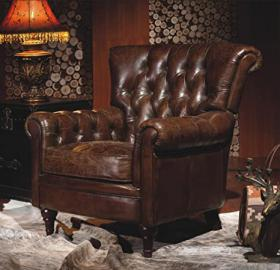 Chesterfield Real Leather Settle Industrial Chic Armchair Vintage Clubchair