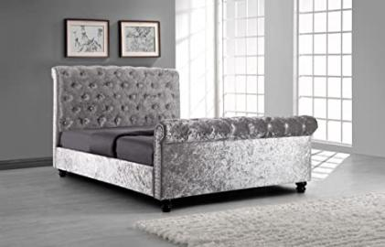 Silver Crushed Velvet Upholstered Sleigh Bed Frame With Diamond Buttons 5ft Kingsize
