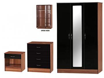 Alpha High Gloss and Walnut Effect Mirrored Set, Wood, Black, 3 Piece
