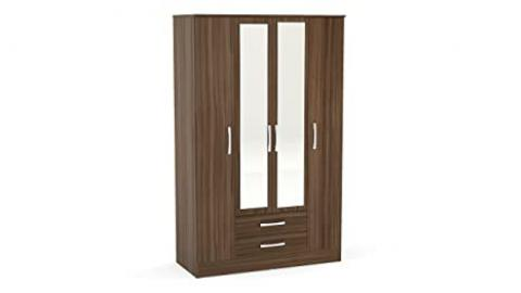 Birlea Lynx 4-Door 2-Drawer Wardrobe With Mirror - High-Gloss, Walnut