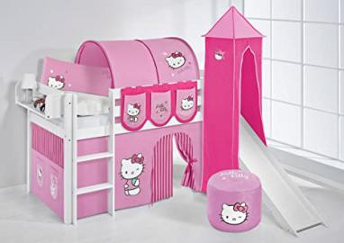 Hello Kitty Jelle Lilo Kids Bed–Bunk Bed–White with Pink Tower, Slide and Tent