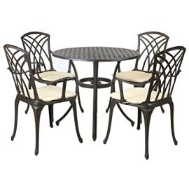 Charles Bentley Metal Cast Aluminium 5 Piece Stamford Garden Furniture Patio Set With Cushions