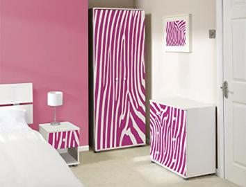 Pink Zebra Design White Bedroom Furniture Set