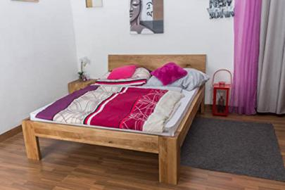 Double Bed Wooden Nature 85, solid wild oak, oiled - 180 x 200 cm