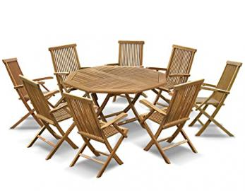 Lymington Teak Garden Dining Set - Octagonal Folding Table 1.5m and 8 Newhaven Armchairs - Jati Brand, Quality & Value