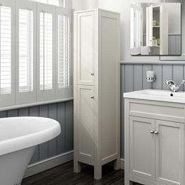 1600mm Tall Ivory Floor Standing Bathroom Furniture Cabinet Storage Unit MF1010