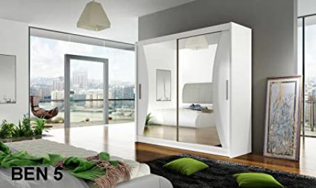 WARDROBE BEN 5 WHITE 180 cm 2 sliding doors many colours