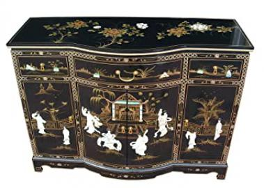 Chinese Furniture - Black Lacquer Bow Front Sideboard with Mother of Pearl Inlay, Oriental Furniture