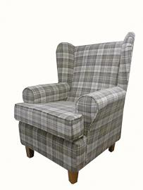 Latte Tartan Fabric Queen Anne With a Deep Base design...wing back fireside high back chair. Ideal bedroom or living room furniture