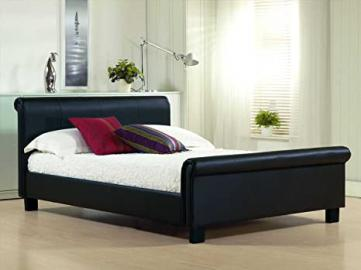 New 4ft6 Double Black Modern Real Genuine Leather Sleigh Scroll Bed Frame