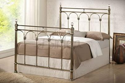MODERN METAL SHANGHAI 4FT6 DOUBLE OR 5FT KING SIZE BED AVAILABLE IN EITHER NICKEL OR BRASS FINISH FROM CENTURION PINE (BRASS, 5FT KING)