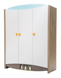 New Joy Blue Peny 3-Door Children Wardrobe, 187 x 146 x 60 cm, White