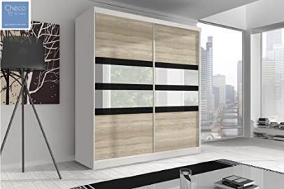 SLIDING DOOR WARDROBE 6 ft (183cm) 'REFLECTION' MULTI F09 WHITE SIDES & SONOMA OAK FRONT