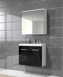 Bathroom cabinet Toledo 02 60x35cm basin high gloss black - Mirror storage cabinet vanity unit sink furniture