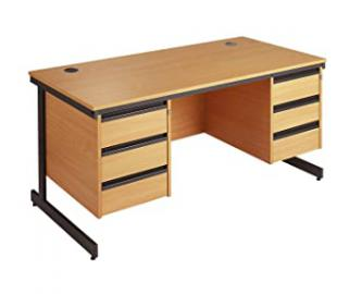 Maestro Desk with 3&3 Drawer Pedestals (1786, Beech)