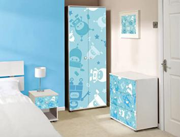 Blue Robot Design Childrens/Kids White Bedroom Furniture Sets