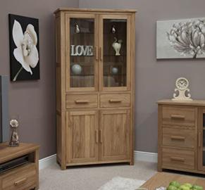 Eton solid oak furniture glazed dresser display cabinet