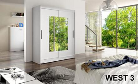 WARDROBE WEST 3 WHITE 150 cm wide 2 sliding doors many colours