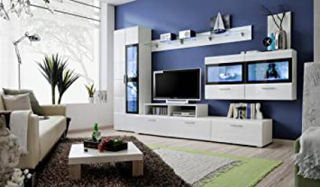 "BMF ""KRONE 4 GERMAN "" Modern HIGH GLOSS Entertainment Wall Unit - Living Room / Bedroom / STUDIO FLAT - Furniture Set - LED Cabinets - ONLY FROM BMF !!!"